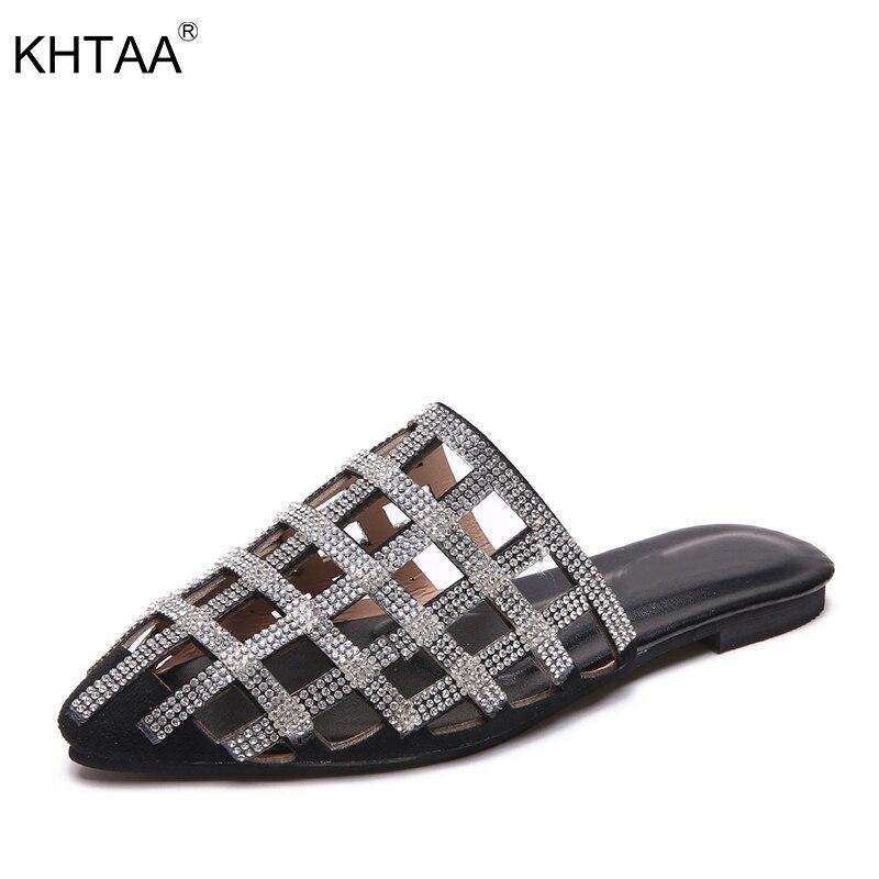 KHTAA Для женщин Шлёпанцы тапочки на плоской подошве с вырезами со стразами острый носок удобные дырявые однотонные летние шлепанцы модная да...