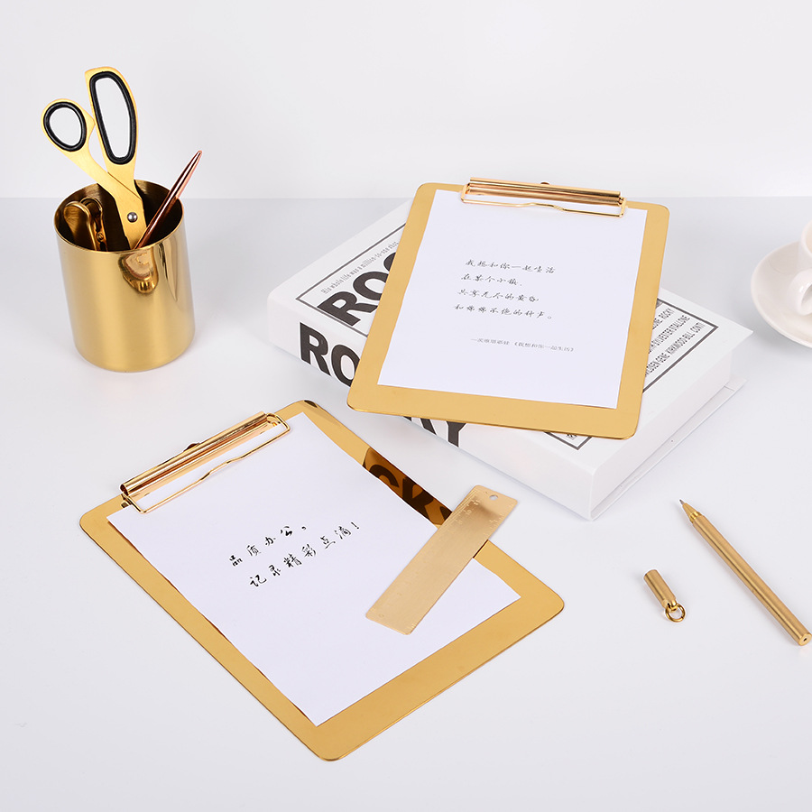 Nordic Style Gold Memo Pad Clipboard For Writing Board Stainless Steel Notepad Clipboard Office Accessories Stationery Supplies 2018 pet transparent sticky notes and memo pad self adhesiv memo pad colored post sticker papelaria office school supplies