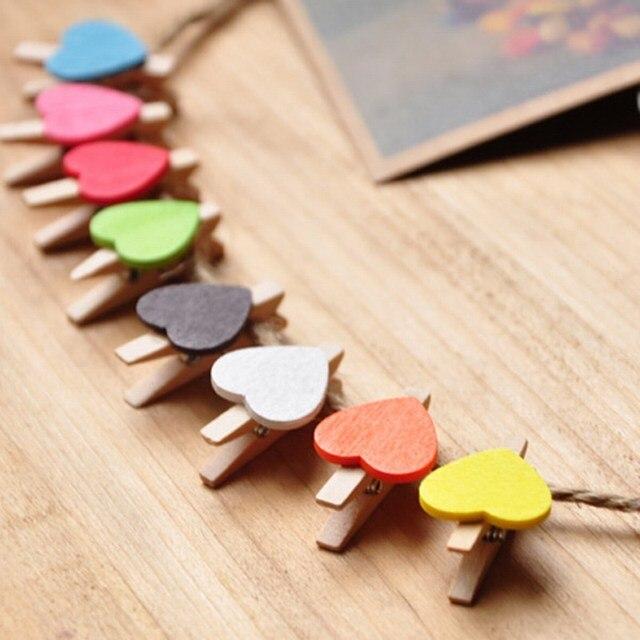 50 unids/lote Mini de madera Peg Clips de forma de corazón de amor foto abrazadera artesanía casa boda decoración fiesta suministros VBT50 p0.5