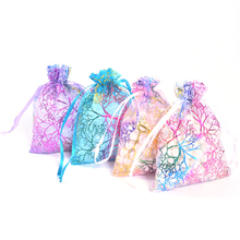 10/50pcs Sheer Coralline Organza Jewelry Pouch 7x9cm,9x12cm,10x15cm,13x18cm White Blue Organza Bag Jewelry Packaging Pouches