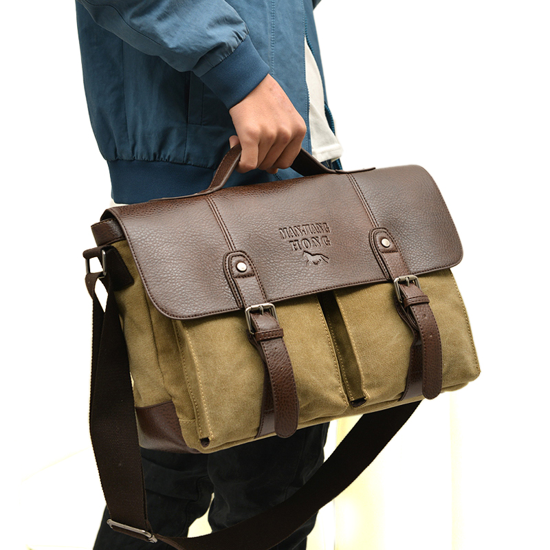 Designer Brand Vintage men messenger bags fashion male shoulder bag canvas with leather Crossbody Bags Briefcase free shipping