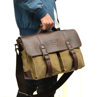 Designer Brand Vintage Men Messenger Bags Fashion Male Shoulder Bag Canvas With Leather Crossbody Bags Briefcase