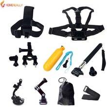 HOMEREALLY Gopro Accessory Set Helmet Floating Monopod Chest Belt Head Mount Strap For Gopro Hero 5/4/3+/3 Sj4000 Sj5000 Sj6 Cam