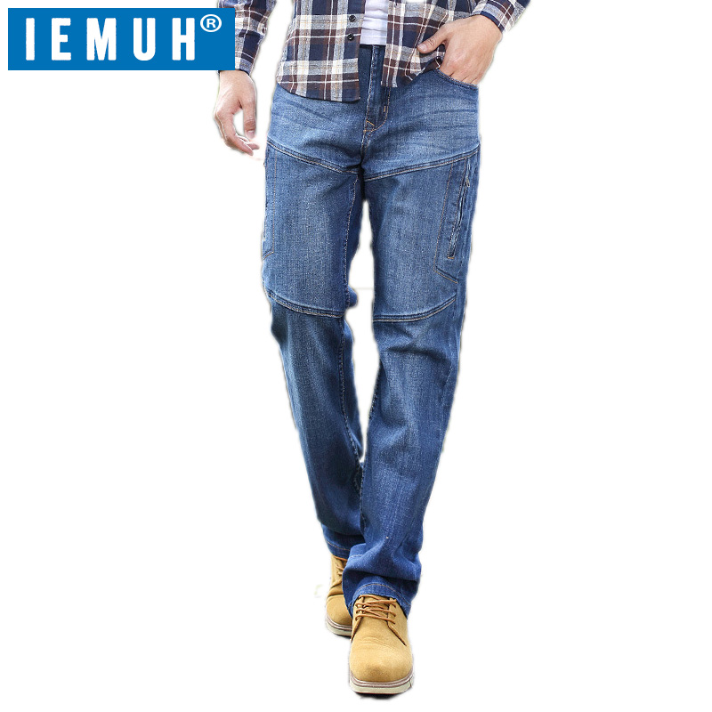 IEMUH Plus Size Jeans Man Denim Jeans Casual Middle Waist Loose Long Pants Male Solid Straight Jeans For Men Classical 28-48 джинсы lost ink plus lost ink plus lo035ewutw26