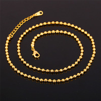 Yellow Gold Color Chain Necklaces For Women Trendy Men Jewelry Gift 48CN+5CM LinK Chain N879