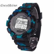 CocoShine A 918 Fashion font b Men b font Waterproof LED Digital Date Military Sport Rubber