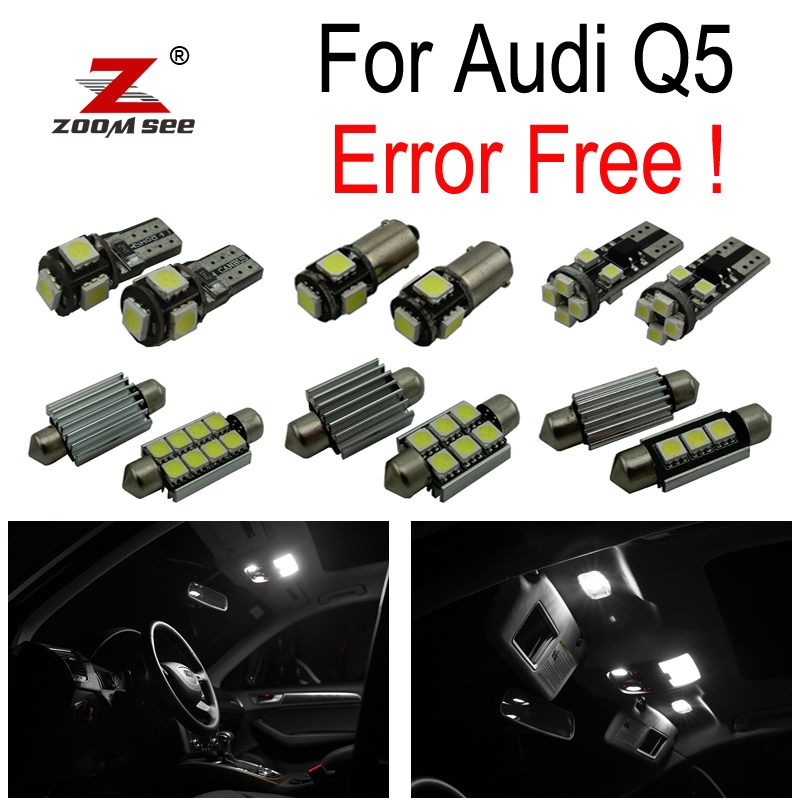 30pc X canbus Error Free for Audi Q5 LED Reading lamp Interior dome Light Kit Package (2009-2017) 15pc x 100% canbus led lamp interior map dome reading light kit package for audi a4 s4 b8 saloon sedan only 2009 2015