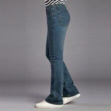 Icsars Pantalones clásicos Acampanados para hombre, vaqueros de cintura alta, Bootcut, azules