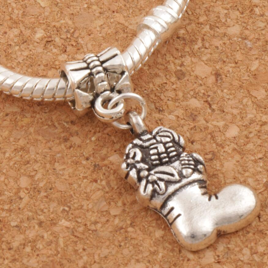 Christmas Stockings Full of Gift Big Hole Beads 30.5x13.5mm 100pcs Antique Silver Dangle Fit European Bracelets Jewelry DIY B253
