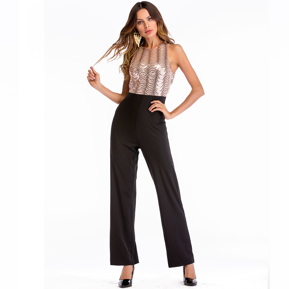 5d824d83ddd7 Sexy Paillettes Jumpsuits For Women 2019 Long Pants Sequin Jumpsuit Plus  Size Sleeveless Overalls Outfits Suit
