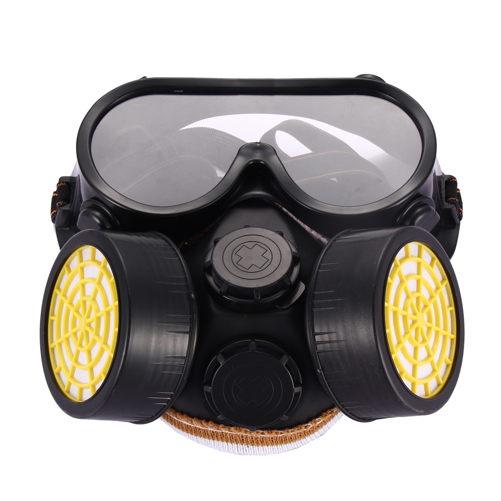 High Quality Safety Anti Dust Spray Chemical Gas Dual Cartridge Respirator Paint Filter Mask PVC Glasses Set High Quality New