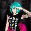 Бесплатный Тепла Доставка Устойчивы Синтетический Мода LadyGaGa Звезда Волосы Женщины Короткие Голубые Косплей Лпп Прямой Парик SY3012