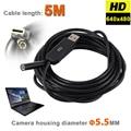 6 LEDs 5.5 MM USB Endoscópio Endoscópio Snake Inspeção Câmera IP67 À Prova D' Água Tubo De Vídeo Borescope Tubo USB MINI Câmera Com 5 M Rígida cabo