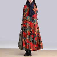 New Retro National Wind Big Size Cotton And Linen Dress Woman S Long Sleeved Printing Long