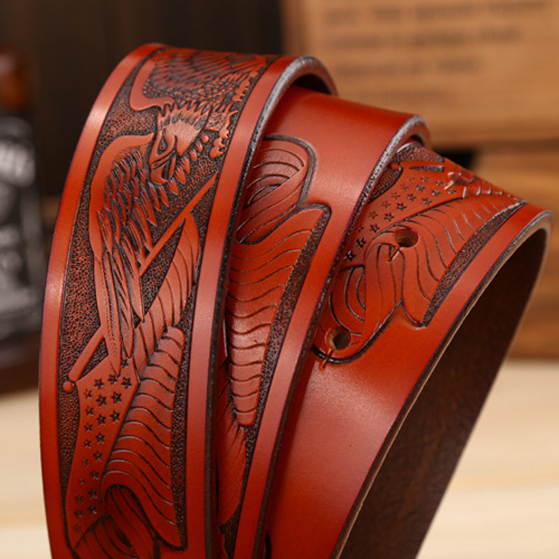Image 4 - DINISITON Eagle head man belt The First Layer Genuine Leather Men belts Brand Cowskin Fashion Vintage Male Strap Ceinture ZPB01ceinture fgenuine leather men beltbelt brand -