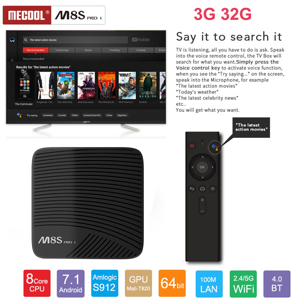 Mecool M8S PRO L Voice Control Smart TV Box Android 7.1 Amlogic S912 Octa Core BT4.1 Wifi 2.4G/5G 4K Set-top Box HDMI 3GB 32GB mecool m8s pro android 7 1 smart tv box 3gb ddr4 16gb amlogic s912 64 bit octa core uhd 4k bt4 1 2 4g 5g wifi kdi set top box