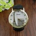 Creativo Reloj de Las Mujeres Patrón de Impresión de La Torre Eiffel Banda de Cuero Relojes de Cuarzo Del Dial de Cuero Tejida Reloj relogio feminino