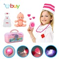 34 PCS Kids Nurse Doctor Toys Set Dr. Baby Kit Pretend Play Medical Tools Box Cosplay Clothes for Children with Light Sound