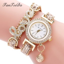 FanTeeDa Top Brand Women Bracelet Watches Ladies Love Leather Strap Rhinestone Q
