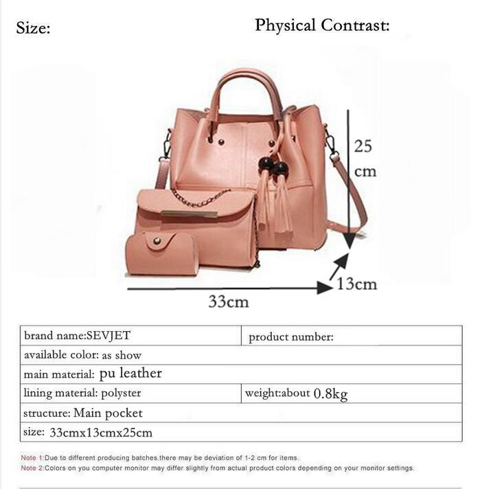 17527d8f95 Women's Bags - 2019 New Brand Tassel Women Set 3 Pcs PU Leather Handbags
