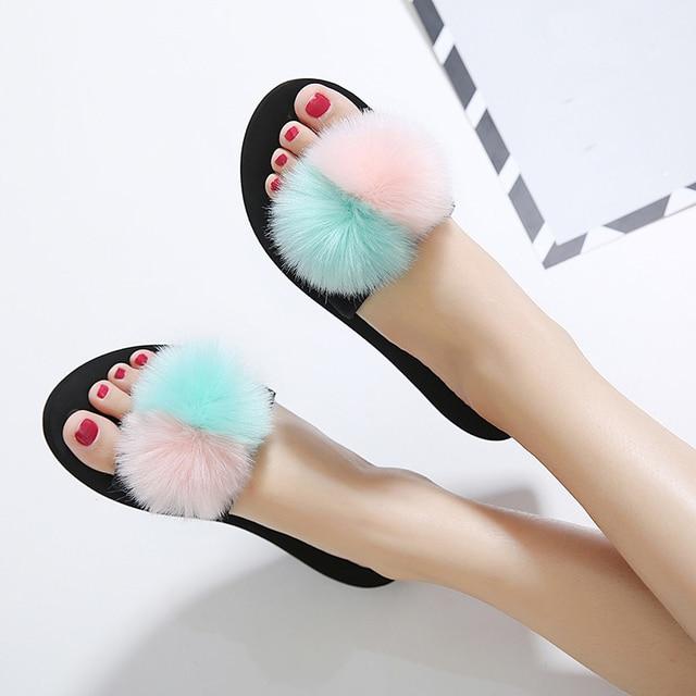 12bdc0b4 Fur slippers woman fur balls flipflops girls pink slippers woman beach sandals  pink green fur balls designer flipflops sandals