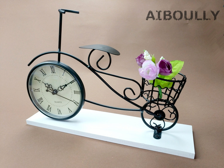 Handmade Vintage Metal Bicycle Clock statue home decor crafts room decoration objects office figurines gifts