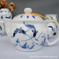 جينغدتشن زرقاء وبيضاء الخزف الشاي الجملة الشاي كل عام أكثر من سبعة الراقي هدية محاصر مجموعة