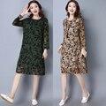 Старинный материал шелк платья 2017 мода элегантный one piece dress женский свободные талией отпечатано dress женщины плюс размер одежды