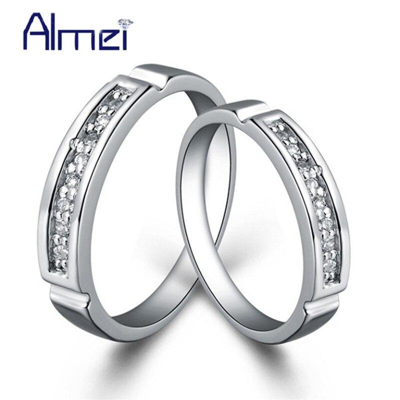 438c01446f70 Conjunto de anillo Vintage joyería Anillos de plata para parejas  mujeres/hombres CZ circón Anel ...