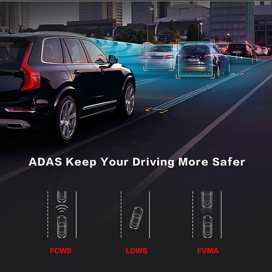 "6.86"" inch 4G ADAS Car DVR Dash Cam Mirror GPS Bluetooth WIFI Android 5.0 Dual Lens FHD 1080p Video Recorder Camera 5"