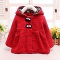 Мода зимой ребенка младенцы дети девушки принцесса с бантом кнопку кукла шерстяные смешанное уха с капюшоном куртки кардиган верхней одежды пальто S2409