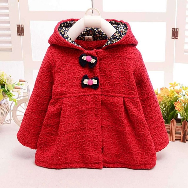 Fashion Winter Baby Infants Kids Girls Princess Bow Button Doll Woolen Blended  Ear Hooded Jackets Cardigan Outwear Coats S2409