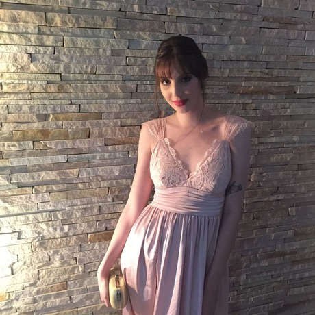 Pink Triangle Lace Top Deep V Neck Slip Dress