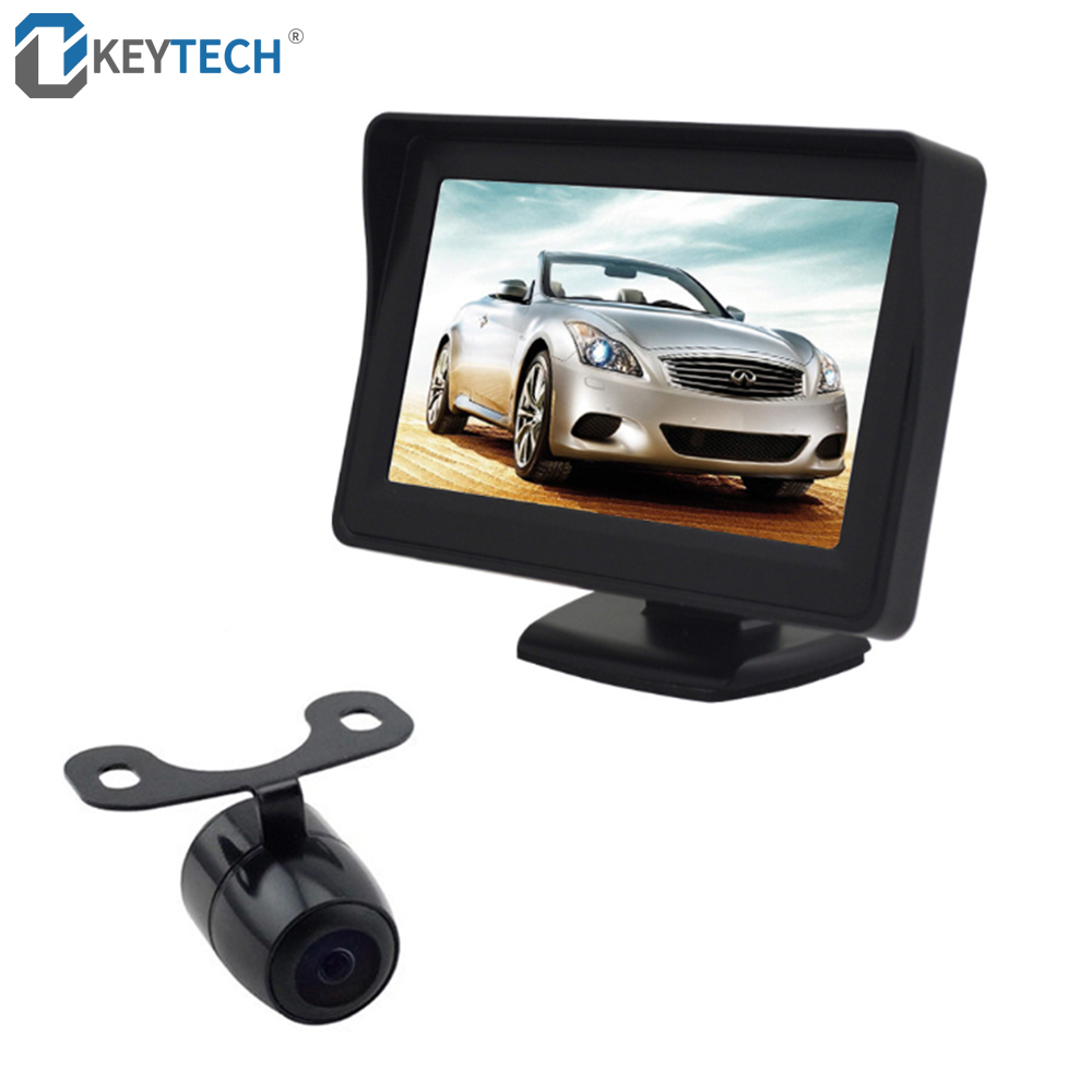 OkeyTech Parktronic Car Parking Sensor Distance Reverse Radar Video Backup Image Rear View Camera Visual 4.3 Display