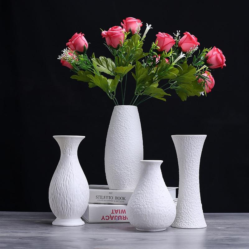 White Ceramic Vase Decoration Creative European Modern Desktop Dry Flowers Flower Arrangement Home Garden Decoration Vase vase