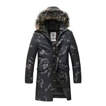 Winter Men Down Jacket With Raccoon Fur Hood Long White Duck Down Coat For Men Zipper Camouflage Warm Fashion Trench Size
