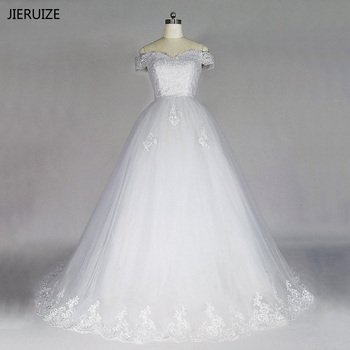 JIERUIZE White Vintage Lace Appliques Wedding Dresses Off The Shoulder Short Sleeves Ball Gown Wedding Gowns