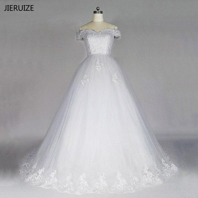 JIERUIZE White Vintage Lace Appliques Wedding Dresses Off The ...