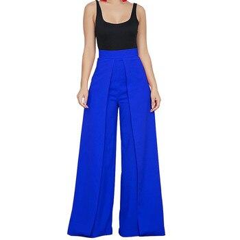 Chic Cintura Alta Com Zíper Calças para Mulheres Casuais Calças Soltas Perna Larga Palazzo Senhoras Elegantes Longos Culottes Calças Pantalon Femme