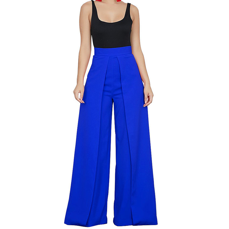 Chic High Waist Zipper Palazzo   Pants   for Women Casual Loose   Wide     Leg     Pants   Ladies Elegant Long Culottes Trousers Pantalon Femme