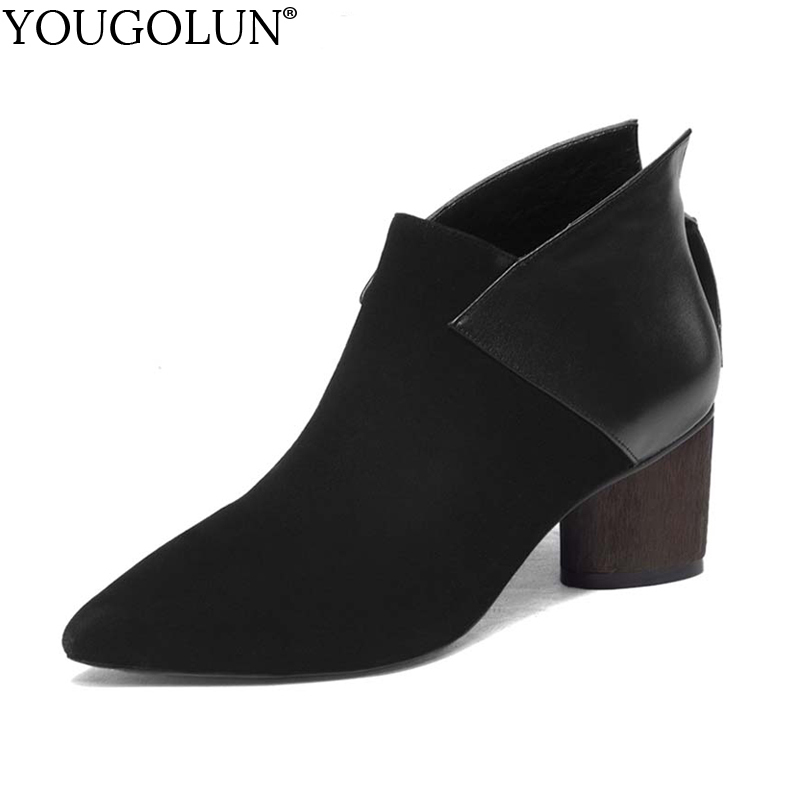 YOUGOLUN Women Ankle Boots Cow Suede Leather Spring Autumn Thick Heel 6 cm High Heels Black Wine red Pointed toe Shoes #Y-004 yougolun women ankle boots 2018 autumn winter genuine leather thick heel 7 5 cm high heels black yellow round toe shoes y 233