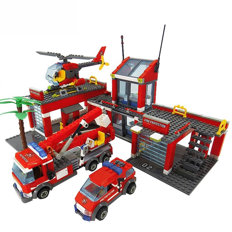 8051 Fire Station Model Blocks Compatible LegoINGlys City Building Blocks Plastic DIY Bricks Educational Toys For Children Gift