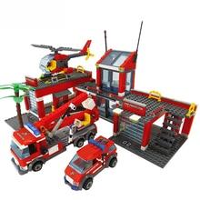 8051 bloques modelo de estación de bomberos Compatible LegoINGlys bloques de construcción de la ciudad de plástico DIY ladrillos juguetes educativos para regalo de niños