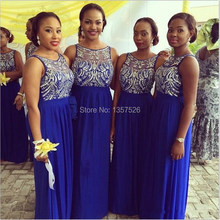 Cheap Royal Blue Bridesmaid Dresses Sheer Chiffon floor length Bridesmaid Gowns with Beads and Sequins Prom Dress WD69