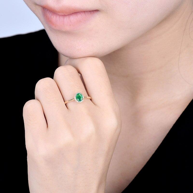 14kt or jaune anneaux pour femmes éternité amour bague de fiançailles naturel ovale émeraude rubis pierres précieuses diamants dame bijoux en Stock - 6