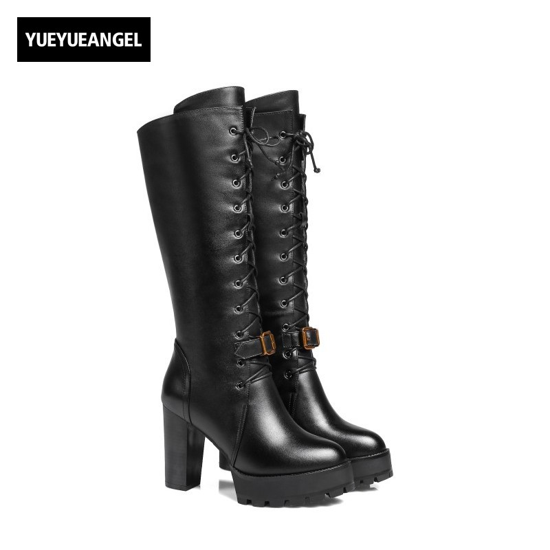 New Fashion Women Shoes Lace Up Buckle Round Toe For Women Knee High Boots Genuine Leather Winter Lady Warm Boots Free Shipping free shipping south korean style winter new nubuck fashion high heels round toe side zipper lace up riding boots women boots