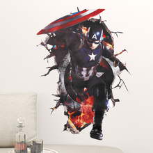 The Avengers Captain America 3D Through Decorative Wall Stickers Kids Room Decoration PVC Home Living Room Poster Children Gifts фреска the whole room room america syz003a