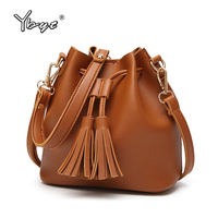 YBYT Brand 2017 New Fashion Casual Women Tassel Bucket Bag Ladies Luxury Handbags Cosmetic Pocket Female