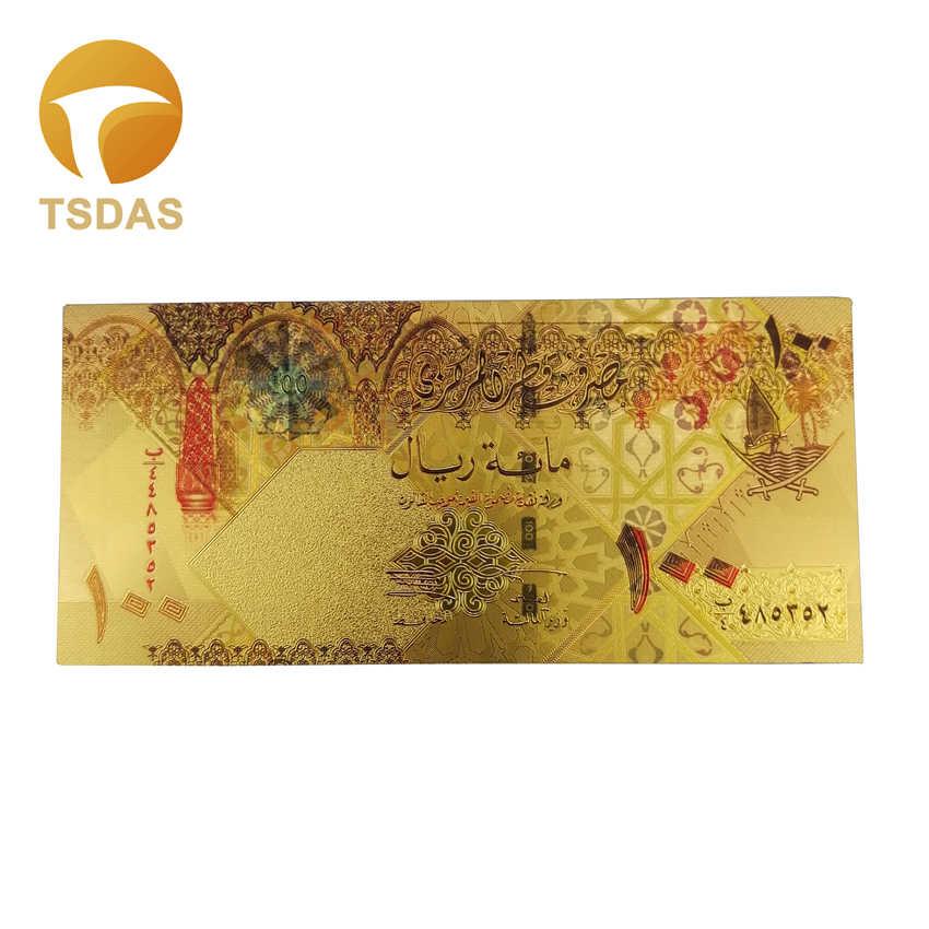 Новый цветной катарский банкнот 10 шт./лот/партия 100 риалов Золотой банкнот в 24 k позолоченный для коллекции