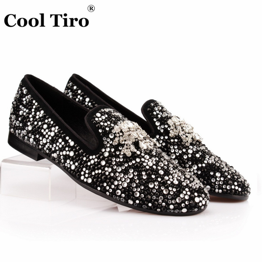 COOL TIRO White Black Rhinestone Tassel Men Loafers Crystals Slippers Smoking Slip on Shoes Party and